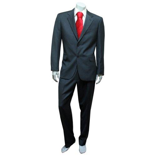 Men's Classic Grey Stripe Two Piece Suit - Mens Two Piece Business Suit