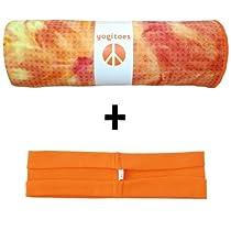 Sunburst yogitoes® mat size SKIDLESS® yoga towel + orange hBand stretchy headband combo by Absolute Yogi®