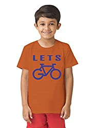 Mintees 100% Combed Cotton Boy's Graphic Print Orange Colour Tshirt MBRNT08-008_8-9Yrs