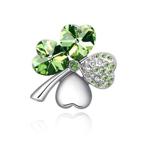 Bijoux accessoires broche femme tr fle quatre feuilles porte bonheur cristal vert - Bijoux porte bonheur pour femme ...