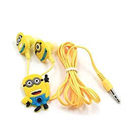Fidelis (Yellow) MINIONS (MORE MINIONS.MORE DESPICABLE) In-ear Headphones for All Mobile Phone,Mp3 and Laptops, 3.5mm Earphones Quality Sound Includes 3 Additional Earplug Covers - Great for Kids, Boys, Girls, Adults, Gifts - 1 Year Warranty