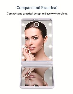 Miroir 鏡 化粧鏡 330度調節可能 CR2025ボタン電池2個付き コンパクトミラー スタンドミラー 折りたたみ式 二面鏡 女優ミラー 拡大鏡付き LED ライト8個 無印タイプ (白)