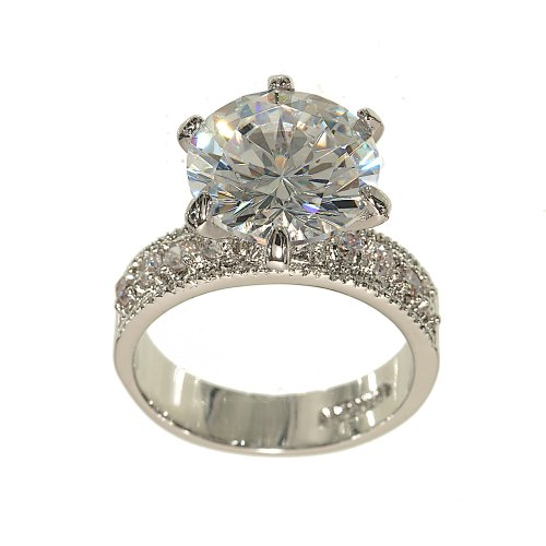 Huge Silvertone Round Solitaire Engagement Ring Style in Clear Cubic Zirconia with Four Stones on Each Side Size 9