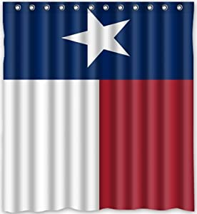 Texas State Flag Waterproof Fabric Polyester Bathroom Shower Curtain 66 W X 72 H