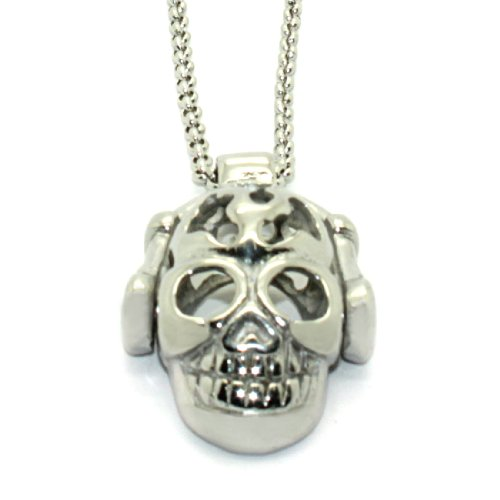 2 Piece Set: Stainless Steel Rolo Chain Necklace With Headphones & Skull Pendant (Lifetime Warranty)