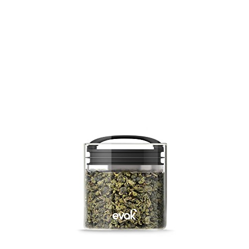 Best PREMIUM Airtight Storage Container for Coffee Beans, Tea and Dry Goods - EVAK - Innovation that Works by Prepara, Glass and Stainless, Compact Soft Touch Black Handle, Small (Pantry Works Fruit Basket compare prices)