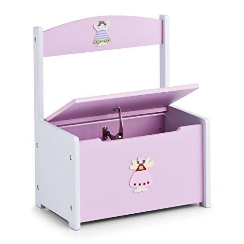 zeller-13444-banco-infantil-con-arcon-diseno-de-princesas-tablero-dm-41-x-26-x-51-cm-color-rosa