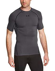 Under Armour Men's HG Short Sleeve T-Shirt - Carbon Heather/Black, Medium