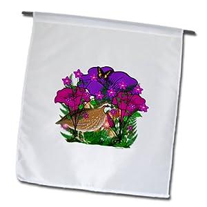 SmudgeArt Flower Art Designs - Purple and Pink Flowers, Ferns and a Quail - 12 x 18 inch Garden Flag (fl_48780_1)