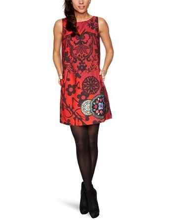 Desigual Jeme - Robe - Droite - Microfibre - Imprimé - Femme - Rouge - 44