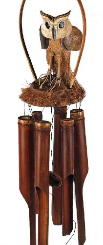 Extra Large Urban Chic Fair Trade Wood and Coconut Owl Wind Chime