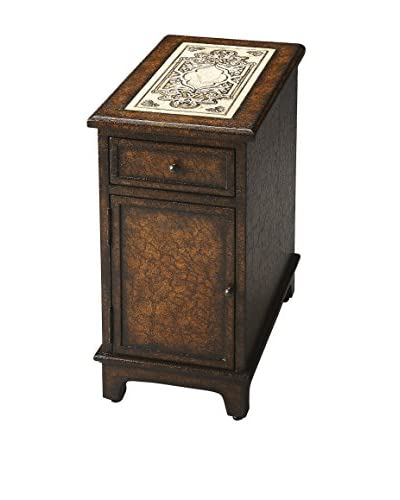 Butler Corsica Etched Fossil Stone Chairside Chest, Brown