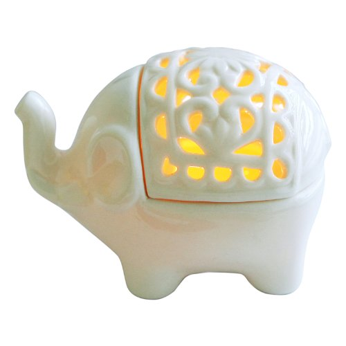 White Elephant Ceramic Tea Light Holder Home Décor