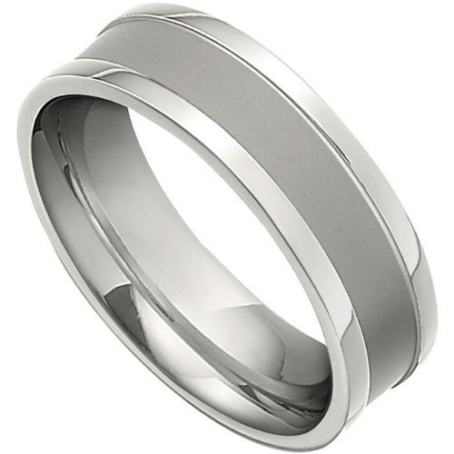 7mm Titanium Comfort Fit Two-Tone Band, Size 8.5