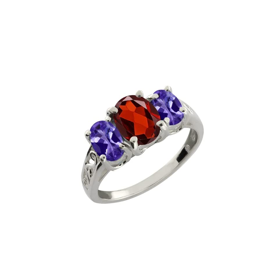 2.65 Ct Oval Blue Tanzanite and Red Garnet 10k White Gold Ring