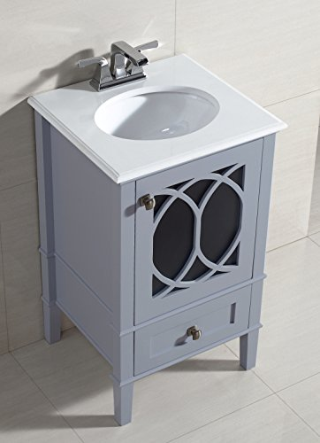Simpli home paige 20 bath vanity with white quartz marble for Quartz bathroom accessories