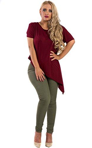 Women's Ladies Asymmetric Hemline Casual Glam Jersey Comfy Top T-shirt