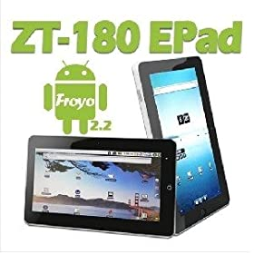 New Arrival ZT-180 Android 2.2 Tablet PC 1GHz 512MB Support Wifi HD Film USB 3G