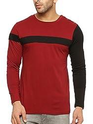 Gritstones Round Neck Full Sleeve T Shirt GSFSTSHT1299MRNBLK_XL