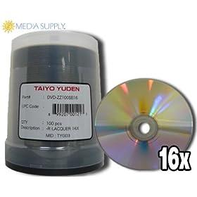 100 JVC Taiyo Yuden 16X DVD-R 4.7GB Silver Thermal Lacquer