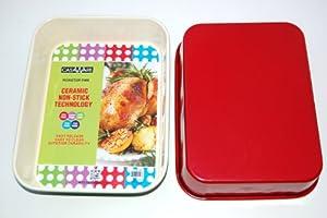 casaWare Ceramic Coated NonStick Lasagna Roaster Pan 13 x 10 x 3-Inch (Cream Red) by casaWare
