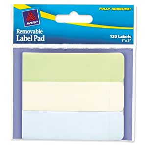 Avery Removable Label Pad, 1 x 3 Inches, Recycled, 120 Labels (22012)