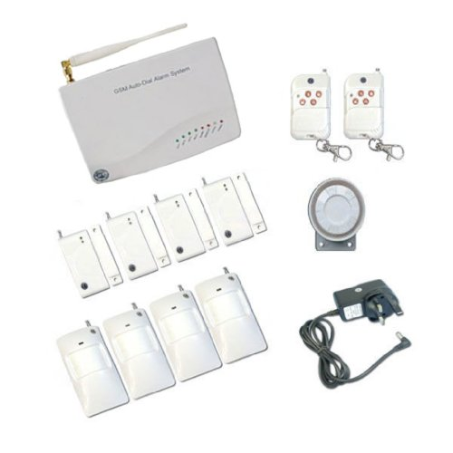 GSM Autodial House Alarm System with 4 PIRs 4 Windows Sensors and 2 Remotes