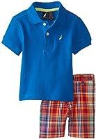 Nautica Baby Boys' 2 Piece Pique Solid Polo with Plaid Short