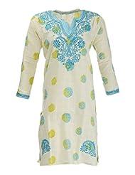 PDBP Women's Cotton Straight Kurtas (PDBPCP021_Free Size, Printed Cream Base , Free Size)