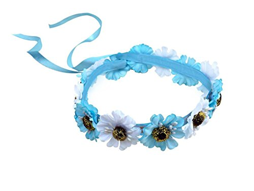 Festie Fever Light Up Hippy Flower Crown with LED (White and Blue)