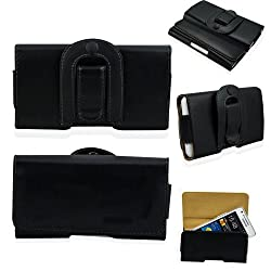 Fulland Leather Horizontal Holster Pouch Case Cover With Magnetic closure And Swivel Belt Clip For Samsung S2 I9100-Embossed Black