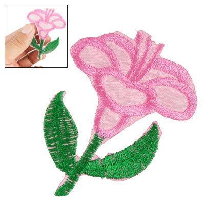Clothing Decoration Iron On Embroidered Floral Applique Pink Green front-132298