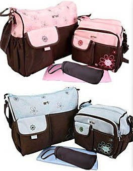 In 3 Colours, 5pc Baby Flower Changing Nappy Bag