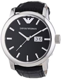 Emporio Armani oversize gents watch with black dial, black strap and double date box