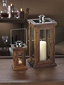 Wooden Candle Lantern with Hinged Door Special Walnut Finish