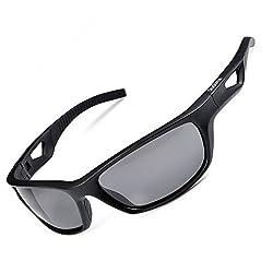 Duduma Polarized Sport Mens Sunglasses for Baseball Fishing Golf Running Cycling with Fashion Women Sunglasses and Men Sunglasses Tr80821 Flexible Superlight Frame (Matte black frame, Black lens), one size/Matte black frame
