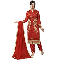 Manthan Chanderi Red Embroidered Women's Chudidar Suit MNTKFMFDRMG36107
