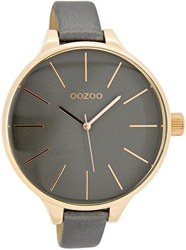 Oozoo Damenuhr mit Lederband 45 MM Dunkelgrau/Dunkelgrau C6844