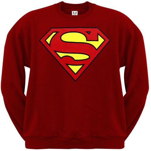 Superman - Shield Logo Red Crew Neck Sweatshirt