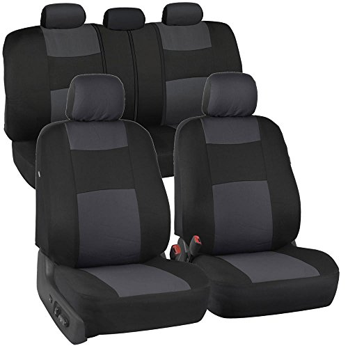 BDK PolyCloth Black/Charcoal Gray Car Seat Cover (Easy Wrap Two-Tone Accent for Auto) (Nissan Frontier Truck Seat Covers compare prices)