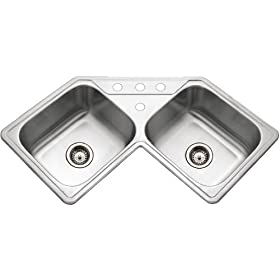Houzer LCR-3221 Legend Topmount Corner Bowl Stainless Steel Sink