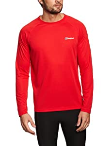 Berghaus Men's Essential Long Sleeve Crew Baselayer - Extreme Red, Small