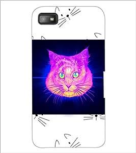 PrintDhaba Cat D-3465 Back Case Cover for BLACKBERRY Z10 (Multi-Coloured)