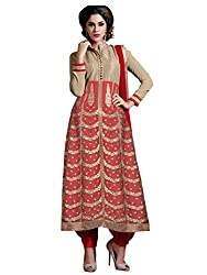Unique Beige and Red Coloured Embroidered Semi-Stitched Cotton Silk,Georgette and Net Salwar Suit With Dupatta