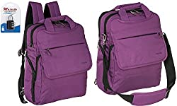 Convertible Business Laptop Backpack 14 Inch for Women Men Water Resistant Lightweight Small Padded Durable Ergonomic Professional Quality Cool Urban Stylish Fashion Design + Padlock - Bundle Purple