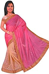 Aakriti Fashion Women's Georgette Saree(1336_pink and cream)