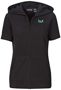 NCAA Wayne State University Ladies Short Sleeve Full Zip Polar Fleece Hoodie, Black by Oxford