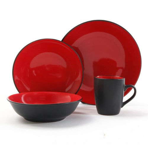 Gibson Vivendi 2-Tone Dinnerware Set, 16-Piece, Red/Black