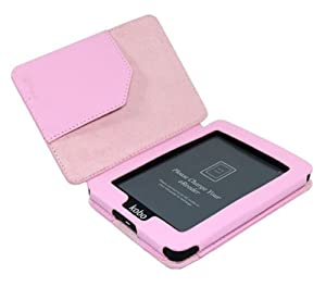 Magnetic Synthe Pink PU Leather Holder Case For KOBO MINI eReader