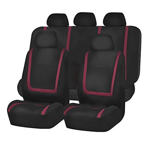 FH GROUP FH-FB032115 Unique Flat Cloth Seat Cover w. 5 Detachable Headrests and Solid Bench Burgundy / Black- Fit Most Car, Truck, Suv, or Van (Solid Red Seat Covers compare prices)
